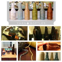 Love it love it Yarn/Jute Bottles! Smart! #wine #crafts #Yarns #DIY