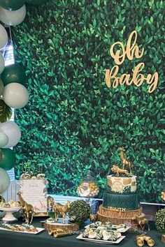 Take a look at this gorgeous safari baby shower! The dessert table is fantastic! See more party ideas and share yours at CatchMyParty.com #catchmyparty #partyideas #safari #safariparty #safaribabyshower #babyshower