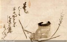 Hakuin Ekaku (1686-1769), 蘆葉磨 Royō Daruma Daruma crossing the Yangtze River on a Reed
