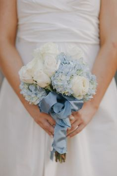 Need a bridal bouquet inspiration for your wedding? Consider the white bridal bouquet. While we love scoping out all of the innovative floral designs that are out there, a white bouquet will forever be timeless. Blue Wedding Flowers, Flower Bouquet Wedding, Rose Bouquet, Bridesmaid Bouquet, Floral Wedding, Wedding Colors, Flower Bouquets, Bridal Bouquets, Bridesmaids