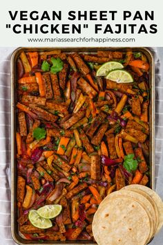 """These simple Vegan Sheet Pan """"Chicken"""" Fajitas are perfect for meal-prepping or for large groups of people! This recipe takes just 25 minutes to cook and makes 5 - 7 servings or 15 small fajitas! Vegan Mexican Recipes, Vegan Dinner Recipes, Delicious Vegan Recipes, Vegan Dinners, Healthy Dinner Recipes, Vegetarian Recipes, Vegetarian Appetizers, Health Recipes, Vegan Meat Recipe"""