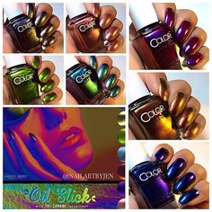 Here are the full swatches of @colorclubnaillacquer's new #OilSlick collection! Awesome #trichrometechnology ❤️ this collection is available now at www.colorclub.com #colorclub Nail Polish Sets, Nail Polish Colors, Color Club, Nail File, Light Purple, Green And Gold, Different Colors, Class Ring, Swatch