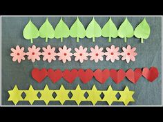 How to make paper chains easily for decorations and bulletin boards. Flowers, leaves, hearts and star chain. You can similarly create many other ideas. Boarders For Bulletin Boards, Bulletin Board Paper, Flower Bulletin Boards, Valentines Day Bulletin Board, Birthday Bulletin Boards, Paper Crafts Origami, Diy Paper, Paper Art, School Decorations