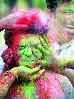 Celebrating holi - the festival of colors in India !