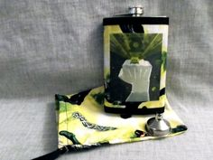 Green Lantern Flask with Matching Carry Bag by CrazyJanesCustoms, $21.99