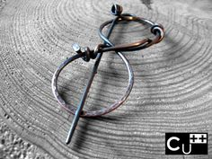 """Ribbon"": handmade copper shawl pin by aes Cyprium"