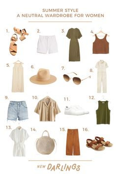 Summer Style: A His & Hers Neutral Wardrobe Guide Capsule Outfits, Fashion Capsule, Fashion Outfits, Womens Fashion, Woman Outfits, Fashion Hacks, Fashion Quotes, 80s Fashion, Fashion Wear