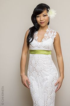 Chrysanthemum Gown crochet pattern by Chi Krneta... Crochet wedding gown that can be altered for any type gown or dress.
