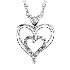 Ladies Double Heart Diamond Pendant in Sterling Silver $49.99