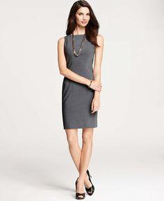 Tropical Wool Seamed Sheath Dress
