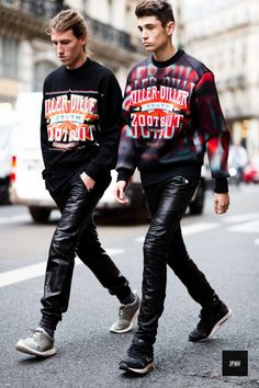 Extreme sports wear clashed with retro rock graphics is the way to go for colder days in 2015. Think smart leather joggers and oversized neoprene sweatshirts.