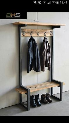 Mudroom locker - Kapstok industrieel staal en hout http://www.brommerhoutenstaal.nl/419089360/category/905354/kapstokken
