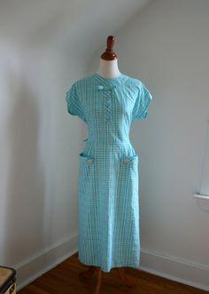 1950s 'Seabreeze' Aqua Cotton Day Dress