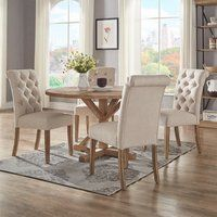 Eleanor Two Tone Rectangular Solid Wood Top Dining Table By