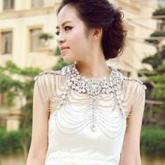 Sunshinesmile Vintage Wedding Bridal Silver Crystal Long Full Body Shoulder Chain Necklace *** Click image to review more details.