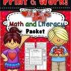 UPDATED 2/06/2014  Math and Literacy Printables Activities Worksheets pages of fun. All aligned to the Common Core  This packet includes the follow...