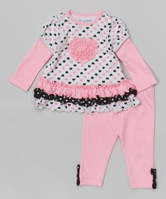 Look at this Buster Brown Pink & Black Hearts Skirted Tunic & Leggings - Infant on #zulily today!