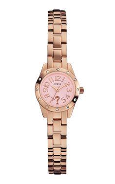 Modell W0307L3, eine grazile und elegante Armband-Uhr. Eine beliebte Uhr von Guess, die wir gerne für Sie gravieren.