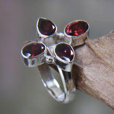 Novica Handcrafted Sterling Silver 'Blossom of Fire' Garnet Ring