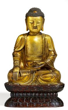 Lot 229: A gilt bronze figure of Buddha Shakyamuni. Ming dynasty. Result: € 86,800. LEMPERTZ