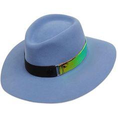 Maison Michel Women Charles Illusion Rabbit Fur Felt Hat (35.685 RUB) ❤ liked on Polyvore featuring accessories, hats, sky blue, logo hats, rabbit felt hat, rabbit fur hat, maison michel and rabbit hat
