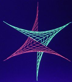 One of the 45 different geometric string art designs - created using fluorescent thread which glows under a black light.