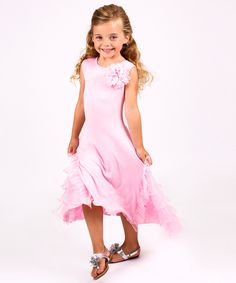 Look at this Mia Belle Baby Pink Ruffle Maxi Dress - Toddler