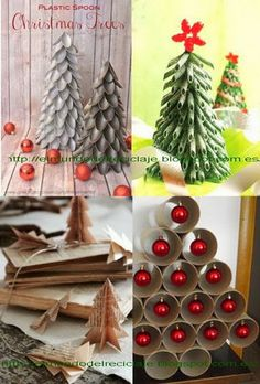Christmas trees from recycled materials i particularly for Materiales para adornos navidenos