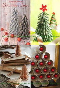 EL MUNDO DEL RECICLAJE: Adornos de Navidad con material reciclado | book page tree