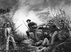 Lt. Van Pelt defending his battery in the battle of Chickamauga during the American Civil War - Rischgitz/Hulton Archive/Getty Images