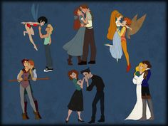 Crysta and Zak – FernGully Odette and Derek – The Swan Princess Thumbelina & Cornelius – Thumbelina Kayley and Garrett – Quest for Camelot, Anastasia and Dimitri – Anastasia Annie and Dean – The Iron Giant.