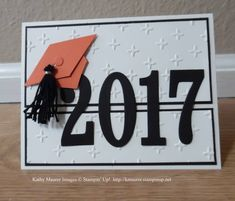 Graduation Card made with Stampin' Up's Large Numbers Framelits and Sparkle Embossing Folder.  For details, go to my Monday, May 22, 2017 blog at http://www.stampinup.net/blog/2130686/entry/freshly_made_sketeches_288