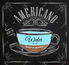 plakat kaffee americano im vintage-stil zeichnung mit kreide an der tafel Standard-Bild