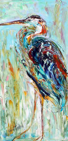 Original oil Blue Heron Bird PALETTE Knife painting by Karensfineart