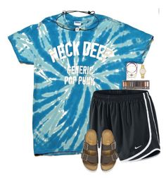 A fashion look from March 2016 featuring NIKE activewear shorts, Birkenstock sandals and Kate Spade watches. Browse and shop related looks. Cute Lazy Outfits, Casual School Outfits, Teenage Girl Outfits, Sporty Outfits, Athletic Outfits, Teen Fashion Outfits, Retro Outfits, Simple Outfits, Outfits For Teens