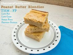 Enjoy these delicious Trim Healthy Mama Fuel Pull Peanut Butter Blondies guilt free! Packed with protein and just the right amount of light peanut flavor.