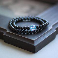 Double Shungite bracelet with Swarovski crystal EMF protection