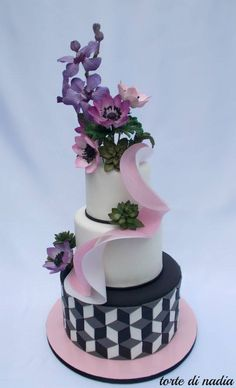 Cake Wrecks - Home - Sunday Sweets: Modern, Funky, Cool! Fondant Cake Tutorial, Fondant Flower Cake, Buttercream Flower Cake, Fondant Bow, Fondant Cakes, Fondant Figures, Gorgeous Cakes, Pretty Cakes, Amazing Cakes