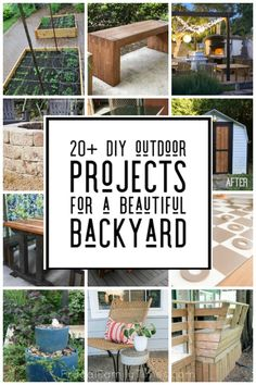 A fabulous collection of DIY backyard projects! This post is all about cool backyard ideas that you can do yourself. We've compiled a collection of ideas to inspire you - from DIY garden decor to yard games to DIY outdoor furniture. Backyard Projects, Outdoor Projects, Home Projects, Backyard Ideas, Backyard Pergola, Pergola Ideas, Furniture Projects, Outdoor Ideas, Ikea Hacks