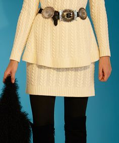 Ivory Fishermans Cable-Knit Wool-Blend Miniskirt by Roja #zulily #zulilyfinds