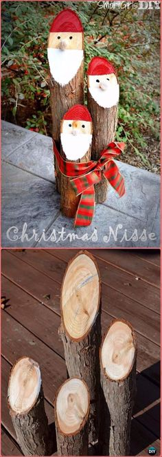 DIY Christmas Santa Log Decoration Instructions - Raw Wood Logs and Stumps DIY Ideas Projects