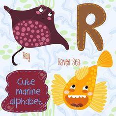Море очень мило алфавита. Дизайн алфавит в красочном стиле. Клипарты, векторы, и Набор Иллюстраций Без Оплаты Отчислений. Image 36793650.
