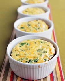 Crustless Broccoli Quiches    Breakfast (or brunch or a light dinner) for one? In these individual quiches, broccoli gives the creamy cheddar and egg a nice crunch; eliminating the crust cuts down on baking time.
