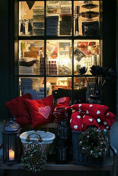 Christmas decorated window