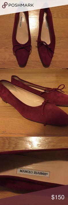 Manolo Blahnik Flats Gorgeous Manolo Blahnik wine red suede ballet flats. Pointed toe with little bows. Very lightly worn and in great condition. Tiny dark pinpoint mark on one toe (very minor - see pics). Size 40. Manolo Blahnik Shoes Flats & Loafers