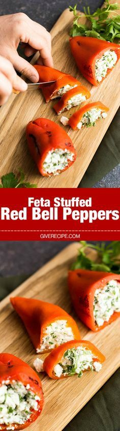 Feta Stuffed Red Bell Peppers - Roasted red bell peppers are stuffed with a mixture of feta, Greek yogurt, garlic and parsley. A wonderful appetizer with roasted red bell peppers. Stuff them with a mixture of Greek yogurt and feta. Vegetable Recipes, Vegetarian Recipes, Cooking Recipes, Healthy Recipes, Dishes Recipes, Vegetable Drinks, Vegetarian Cheese, Rice Recipes, Antipasto