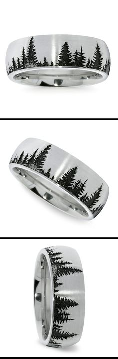 This domed 8 mm men's wedding band features a pine tree pattern laser carved into cobalt with a brushed finish. Proudly made in the USA.
