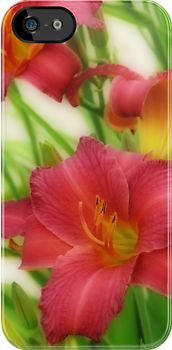 """Day Lilies"" design by #Kay Novy (kkphoto1)  #iphone cover #day lilies #floral #flowers #lily #vibrant #beautiful #nature  http://www.redbubble.com/people/kkphoto1/works/12408397-day-lilies"