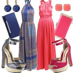 Blue and Coral #fashion #mode #look #outfit #style #stylaholic #sexy #dress #trend