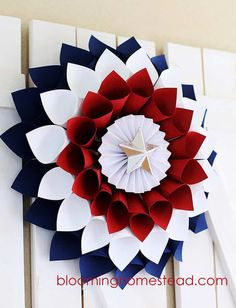 10 Easy of July Crafts to Make For The Independence Day 2018 - want to make - DIY Patriotic Wreath. Easy of July Crafts to Make in Fourth of July is the perfect time t - Fourth Of July Decor, 4th Of July Decorations, 4th Of July Party, July 4th, 4th Of July Wreaths, 4th Of July Celebration, Birthday Decorations, Memorial Day, Patriotic Wreath